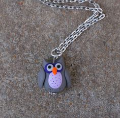 Polymer Clay Owl Pendant/Necklace by caldwali on Etsy, $10.00