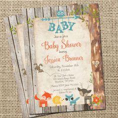 Woodland Creatures Baby Shower Invitation   Woodland Creatures Itu0027s A Boy  Babyu2026   Kayla Shower   Pinterest   Woodland Creatures, Boys And Babies