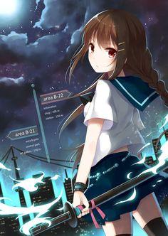 ✮ ANIME ART ✮  sword. . .katana. . .weapon. . .school uniform. . .seifuku. . .long hair. . .braid. . .magic. . .night sky. . .clouds. . .moon. . .city lights. . .kawaii