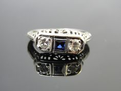 Art Deco 1920s Filigree Sapphire and Diamond Dinner Ring or Wedding Band, Engagement Ring RGSYS103D @Four Seasons Bridal
