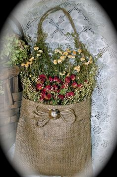 Handmade Dried Flower Arrangement in Burlap Bag/Primitive/Rustic/Red Roses/Sweet Annie