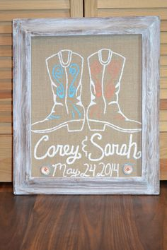 Custom Cowboy Boot Burlap Painting by GurleyCreations on Etsy, $40.00