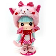 Lovely Cute 18cm Collectible Doll Pink Cat DDUNG
