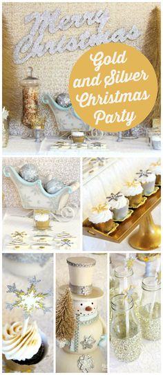A gold and silver glittery Christmas party with sparkling snowflakes and party decorations! See more party planning ideas at CatchMyParty.com!