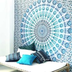 White Boho Mandala Tapestry Bohemian Hippie Wall Hanging Bedspread- Queen/Double (Blue) 1 Peacock feather turquoise