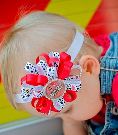 """4/"""" my hero is a firefighter fireman red ribbon girls toddler hair bow clip"""