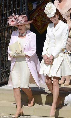 Celebration: Camilla and Kate leave the chapel after the ceremony