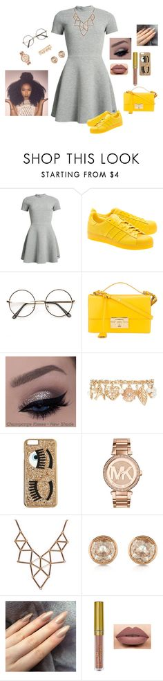 """Gray and yellow."" by adoreexmeshaaa ❤ liked on Polyvore featuring Superdry, adidas Originals, ZeroUV, Salvatore Ferragamo, Forever 21, Chiara Ferragni, Michael Kors, Chicnova Fashion and LASplash"