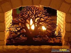 "Metal Tree Fireplace Screen | Made with a PlasmaCAM #plasmacut #metalart #""metaltreeartwall"" #metaltree"