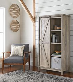 better homes gardens modern farmhouse storage cabinet rustic gray finish image 4 of 8