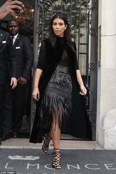 Long stay: Kim has been doing the front row rounds throughout Paris Fashion Week to see the spring/summer 2015 shows