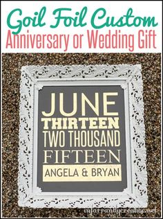 DIY Wedding Gift   Custom Gold Foil Anniversary Date Print   Cash may be the most popular wedding gift, but why not kick up the personal factor with a pretty wedding print?