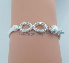 Diamond infinity bracelet Shining Rhinestone infinity bracelet Pearl white rope Bridesmaids bracelets Wedding jewelry choose your color by LovelyGiftidea, $2.99
