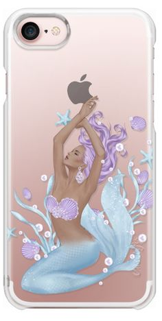 Casetify iPhone 7 Snap Case - Mermaid Summer Sea Transparent Beach Boho Pastel Fashion Girl Illustration Chanel Earrings I'm Done Adulting Let's Be Mermaids I Believe in Mermaids Purple Blue Violet African American by Frou Frou Craft