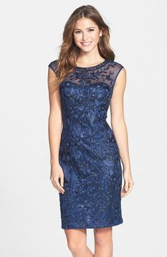Free shipping and returns on Sue Wong Cap Sleeve Embroidered Sheath Dress at Nordstrom.com. Flowery embroidery lends lush dimension to this lean, form-fitting sheath dress. The illusory yoke and sheer upper back add romantic detail to the charming silhouette.