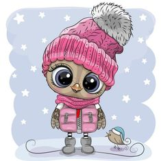 Cute Owl Cartoon, Cute Animal Clipart, Sketchbook Challenge, Owl Classroom, Fantasia Disney, Owl Pictures, Cross Stitch Pictures, Royalty Free Pictures, Pink Hat