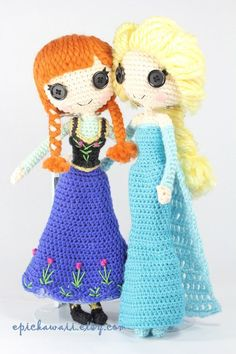 PATTERN Anna and Elsa Frozen Crochet Amigurumi von epickawaii Knitting For BeginnersKnitting FashionCrochet ProjectsCrochet Ideas Crochet Disney, Olaf Crochet, Crochet Kawaii, Frozen Crochet, Crochet Gratis, Crochet Doll Pattern, Crochet Patterns Amigurumi, Cute Crochet, Amigurumi Doll