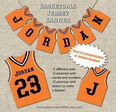 Sports Jersey Banner Basketball Game by PopcornPrintables Cyo Basketball, Basketball Jersey, Basketball Hoop, Basketball Pictures, Basketball Uniforms, Wnba, Sports Party, Sports Games, Jordan Name