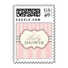 Chic Damask & Stripe Baby Shower Favor Sticker Stamps