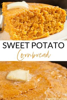 Cornbread is given an extra boost of fall flavors with roasted sweet potatoes. This Sweet Potato Cornbread is nutritious and a holiday-perfect dish! Sweet Potato Biscuits, Sweet Potato Breakfast, Mashed Sweet Potatoes, Sweet Potato Recipes, Corn Bread Sweet, Sweet Potato Dessert, Free Breakfast, Sweet Cornbread Muffins, Honey Cornbread