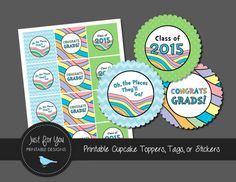 Oh the Places You'll Go Graduation   Cupcake by 4UPrintableDesigns