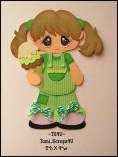 Girl in Green with Ice Cream Scrapbook Images, Kids Scrapbook, Scrapbook Cards, Paper Piecing, Diy And Crafts, Paper Crafts, Paper Dolls Book, Merian, Paper People