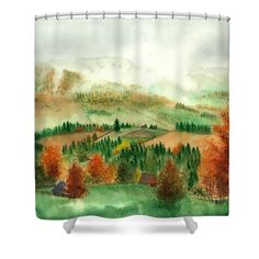 Transylvanian Autumn Shower Curtain featuring the painting Transylvanian Autumn by Olivia C