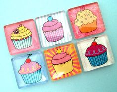 Cupcakes - Handmade Glass Magnets - Inch Square Glass. $9.95, via Etsy.