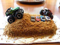 Monster truck cake (graham cracker + melted butter + a little sugar = DIRT!)