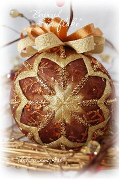 Gold and Bronze Ornament - Gold and Brown Christmas Ornament