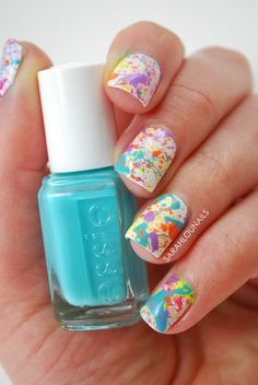 Browse nail polish swatches and nail art designs featuring Essie In the Cabana Cute Nails, Pretty Nails, Splatter Paint Nails, Essie, Nail Art For Girls, Girls Nails, Water Marble Nail Art, Marble Nails, Confetti Nails