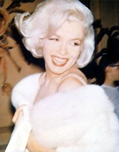 Marilyn wearing her white fur behind the scene of JFK birthday gala at Madison Square Garden - May 19, 1962