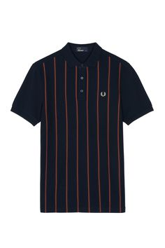 Fred Perry - Stripe Front Piqué Polo Shirt Navy