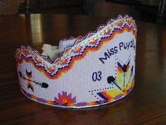 Native American beaded crown made for a pow wow by Lynnette Duenas in 2003