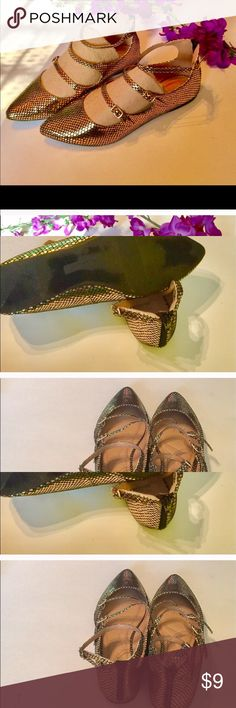 🌺Lane Bryant Golden Strapped Flats🌹✨🌺 Good Condition worn a few times🌺✨🌺 Lane Bryant Shoes Flats & Loafers