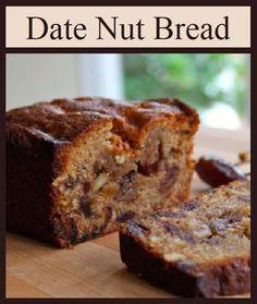 Date Nut Bread, Banana Nut Bread, Fruit Bread, Corn Bread, Brunch Recipes, Gourmet Recipes, Dessert Recipes, Dessert Bread, Date Recipes