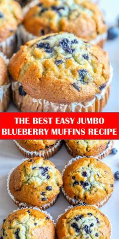 Jumbo Blueberry Muffin Recipe, Easy Blueberry Muffins, Simple Muffin Recipe, Blueberry Recipes, Blue Berry Muffins, Jumbo Muffins, Baking Recipes, Dessert Recipes, Desserts