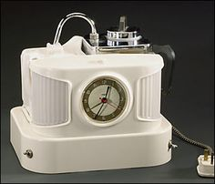 Goblin 'Teasmade' automatic tea-making machine Model D25B, combined alarm clock with a kettle to boil water for morning tea, first mass produced in 1930s, made by the British Vacuum Cleaner and Engineering Company Ltd., this model first manufactured 1955, 1966 / Science Museum, London, UK