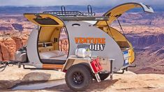 The teardrop Venture OHV trailer by Inka Outdoor features gull wing doors and solar panels among many other features. Small Camper Trailers, Small Campers, Camper Caravan, Rv Trailers, Camping Trailers, Camper Van, Travel Trailers, Rv Camping, Glamping
