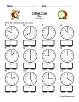 Telling Time Worksheets, Telling Time Worksheet, Free Telling Time ...