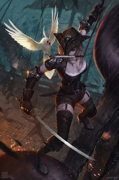 Art about fantasy, steampunk, comics, sci-fi and other lands of dreams. Fantasy Girl, Fantasy Art Women, Fantasy Warrior, Pirate Art, Pirate Woman, Pirate Life, Pirate Wench, Dungeons And Dragons Characters, Dnd Characters