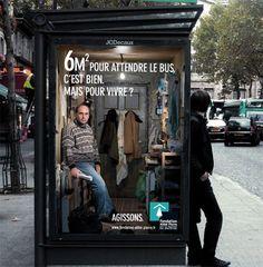 Una buena campaña de marketing emocional para una fundación en paradas de autobuses.  Cuantos no viven asi?