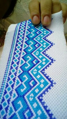 Blue tone Cross Stitch Bookmarks, Cross Stitch Heart, Cross Stitch Borders, Modern Cross Stitch Patterns, Cross Stitch Flowers, Cross Stitch Designs, Cross Stitching, Hand Embroidery Patterns Flowers, Diy Embroidery