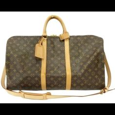 Authentic Louis Vuitton Keepall Bandouliere 55 Overall in EXCELLENT condition with minor water marks & scuffs. Leather has turned a nice golden patina. Inside is in great condition with no major damage. Comes with monogram id tag, luggage loop & strap! Kept in a smoke free environment.   ABSOLUTELY NO TRADES, NO ️️    MORE PHOTOS COMING SOON!!! Louis Vuitton Bags Travel Bags