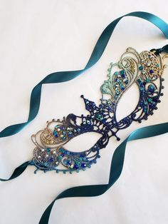 Masquerade Mask Women, Couples Masquerade Mask from USA by HigginsCreek Mardi Gras, Blue Masquerade Masks, Silver Mask, Beautiful Notes, Beautiful Pictures, Lace Mask, Bleu Turquoise, Teal And Gold, Ocean Themes