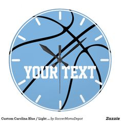 Custom Carolina Blue / Light Blue Basketball Clock #basketball #tarheels #sports #boysroom