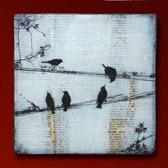 Schwarze Vögel auf einem Draht Handmade Glas und Holz Wand Blox Upcycled Wörterbuch Seite Buchkunst - WilD WorDz - Träger von den Word-3 von 4