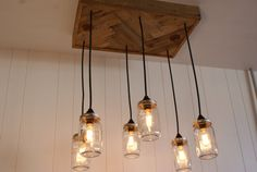 Mason Jar Chandelier - Mason Jar lighting - Upcycled Wood with vintage Edison light bulbs - note board