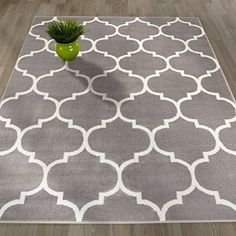 "Sweethome King Collection Grey Moroccan Trellis Design (5'3"" X 7'0"") Area Rug"