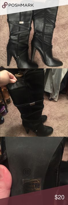 Knee high needed black boots Good used condition. Worn once Shoes Heeled Boots